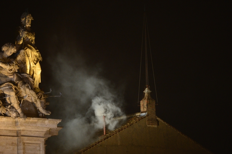 <p>White smoke billows from the Sistine Chapel roof on the second day of the conclave on March 13, 2013 in Vatican City, Vatican. Pope Benedict XVI's successor - the 266th Pontiff - has been selected by the College of Cardinals in Conclave in the Sistine Chapel.</p>