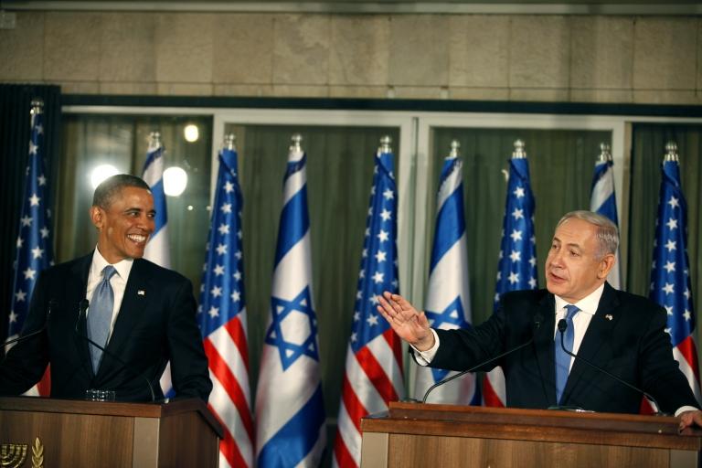 <p>President Barack Obama (L) listens during a press conference with Israeli Prime Minister Benjamin Netanyahu on March 20, 2013 in Jerusalem, Israel.</p>