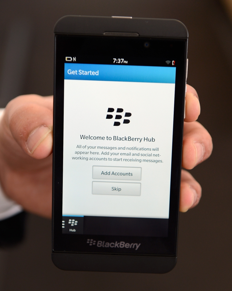 <p>The new BlackBerry Z10 smartphone is displayed at an AT&amp;T store after it went on sale in the U.S. on March 22, 2013 in New York.</p>