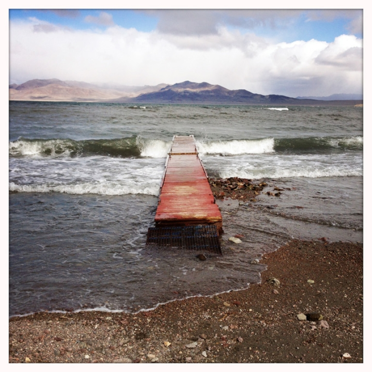 <p>A dock juts out into Pyramid Lake, the terminus of the Truckee River about 40 miles northeast of Reno, Nevada. The lake is a popular year-round fishing spot.</p>