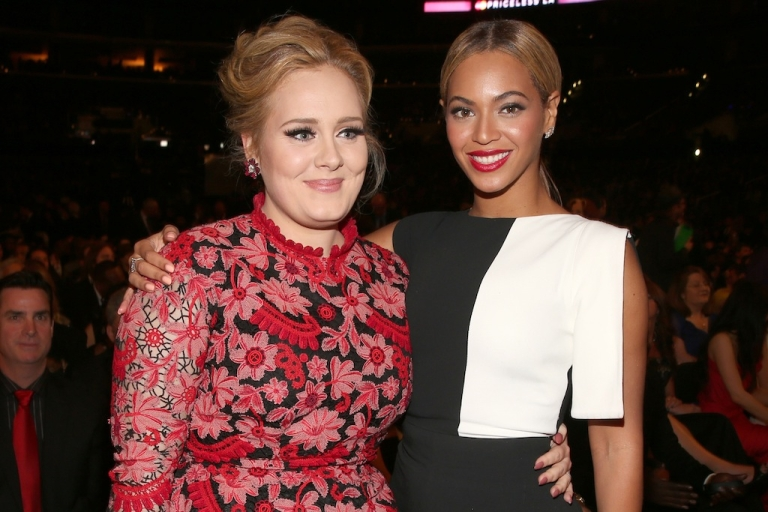 <p>Singers Adele and Beyonce attends the 55th Annual Grammy Awards at the Staples Center on February 10, 2013 in Los Angeles, California.</p>