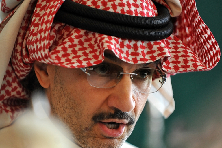 <p>Saudi billionaire owner of Kingdom Holding Company Prince Alwaleed bin Talal speaks during a press conference on Sep. 13, 2011, in Riyadh.</p>