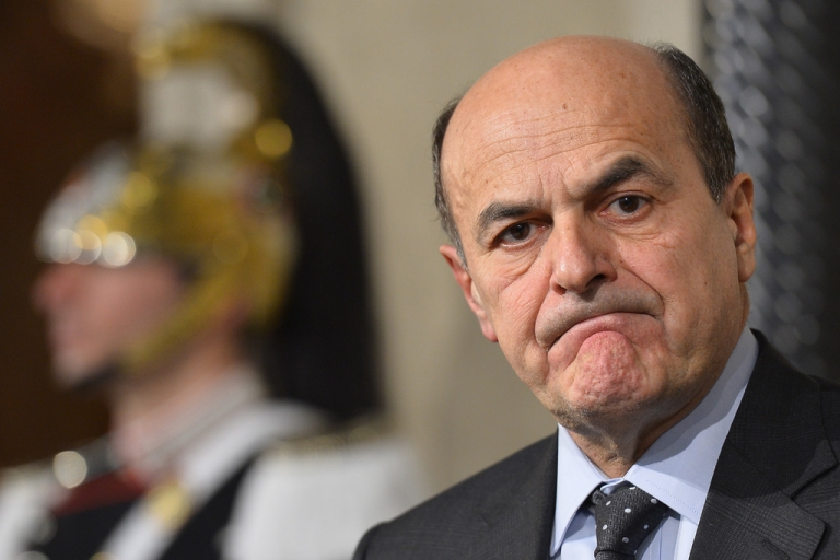 <p>Democratic party leader Pier Luigi Bersani speaks to media on March 22, 2013 at the Quirinale presidential palace in Rome. Bersani got the formal go-ahead today to try to form Italy's next government even though his coalition failed to win an overall majority in parliament in elections last month.</p>