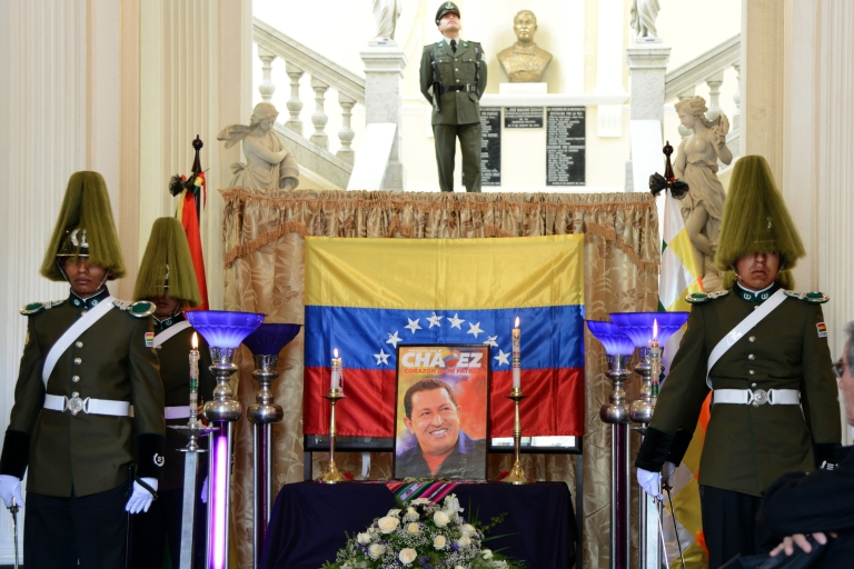 <p>Bolivia's Chavez shrine: A symbolic funeral chapel is installed at the Bolivian Parliament to pay tribute to Venezuelan President Hugo Chavez on March 6, 2013 in La Paz.</p>