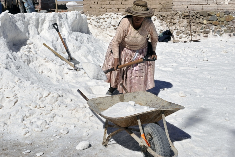 <p>An Aymara indigenous woman collects salt in the world's largest salt flat in Bolivia.</p>