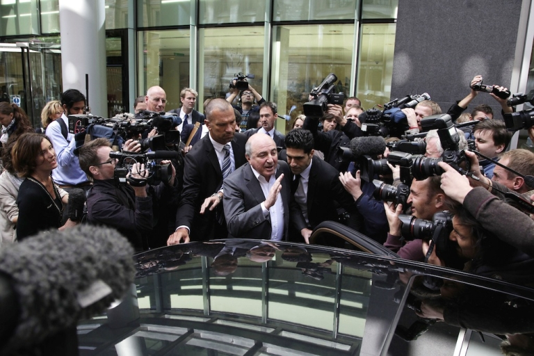 <p>Boris Berezovsky addresses the media outside the Royal Courts of Justice after losing his lawsuit against Chelsea FC owner Roman Abramovich on Aug. 31, 2012 in London, England.</p>