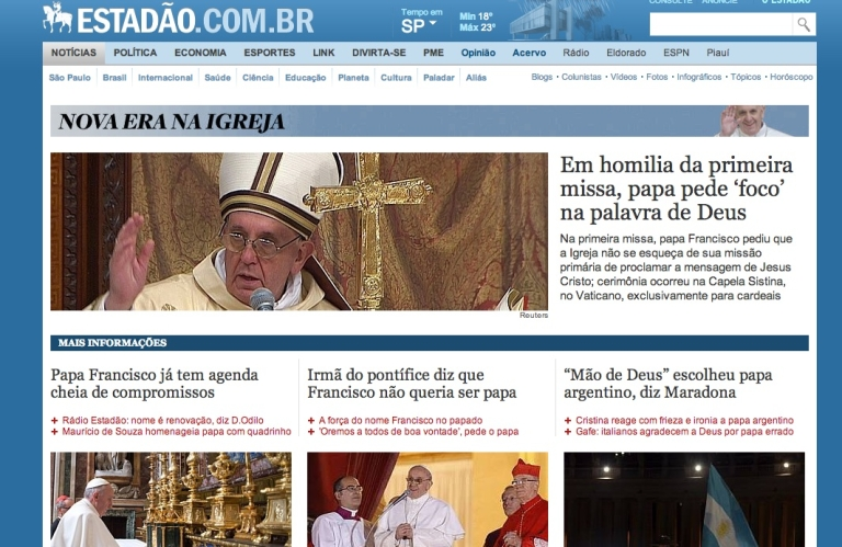 <p>Brazil's Estadão.com.br's coverage of the election of Pope Francis on March 14, 2013.</p>