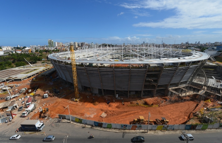 <p>Construction takes place at the Arena Fonte Nova Salvador (Estadio Octavio Mangabeira), venue for the FIFA Confederations Cup Brazil 2013 and the FIFA 2014 World Cup on December 6, 2012 in Salvador, Bahia.</p>