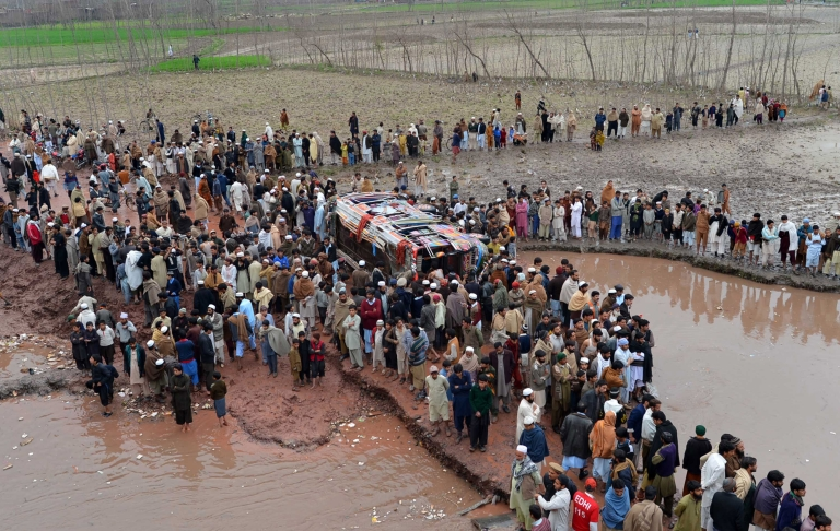 <p>On February 23, 2013, a bus carrying a wedding party plunged into a canal in the northwestern city of Peshawar, killing 17 people, mostly women and children.</p>