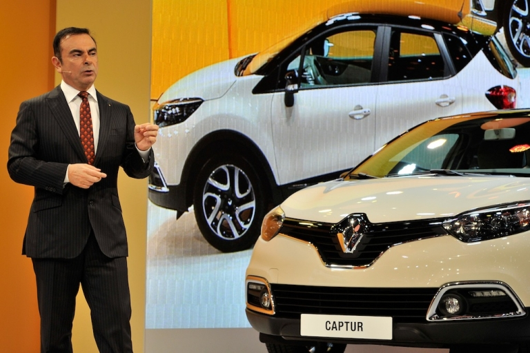 <p>Renault Nissan CEO Carlos Ghosn delivers a speech during the 83rd Geneva Motor Show on March 5, 2013 in Geneva, Switzerland.</p>