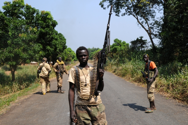 <p>Seleka rebel alliance members take up positions the Central African Republic.</p>