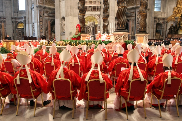 <p>Cardinals attend the Pro Eligendo Romano Pontifice Mass at St. Peter's Basilica, before they enter the conclave to decide who the next pope will be, on March 12, 2013 in Vatican City. Cardinals are set to enter the conclave to elect a successor to Pope Benedict XVI after he became the first pope in 600 years to resign from the role. The conclave is scheduled to start on March 12 inside the Sistine Chapel and will be attended by 115 cardinals as they vote to select the 266th Pope of the Catholic Church.</p>