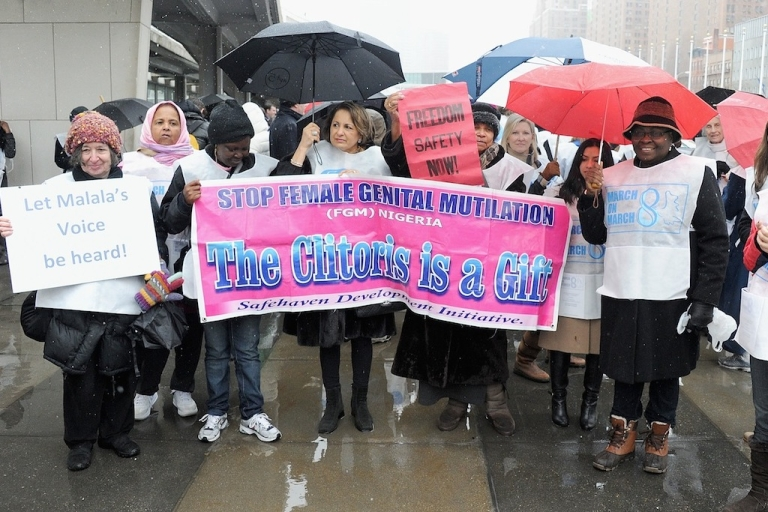 <p>Protesters march against female genital mutilation outside the United Nations in New York City during the 57th annual Commission on the Status of Women. Observers fear an international agreement to end violence against women and girls could be held up by more conservative countries with bad records on women's rights.</p>