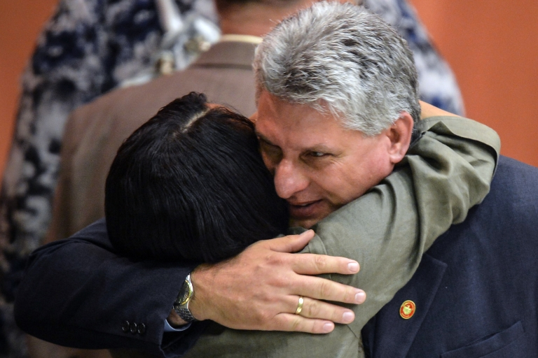 <p>Cuban First Vice President Miguel Diaz-Canel is greeted at the end of the meeting of the new National Assembly to choose a Council of State, on Feb. 24.</p>
