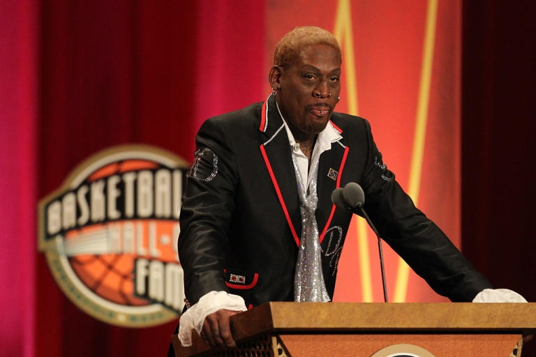 <p>Dennis Rodman speaks during the Basketball Hall of Fame Enshrinement Ceremony at Symphony Hall on Aug. 12, 2011, in Springfield, Mass. Rodman's recent trip to North Korea makes him the latest in a long line of musicians, artists and athletes who have helped open Asian dictatorships to the world.</p>