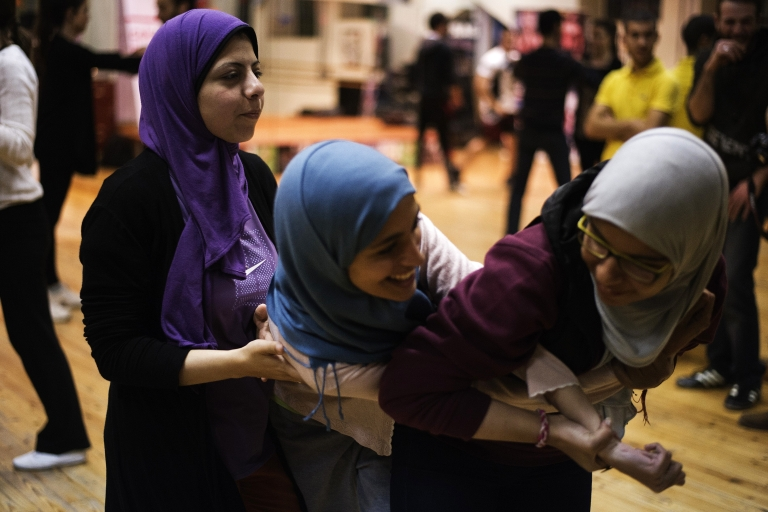 <p>A women's self-defense class in Cairo, Egypt.</p>