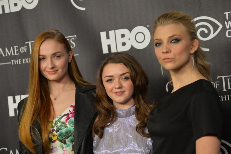 <p>Actors Sophie Turner, left, Maisie Williams and Natalie Dormer attend Game Of Thrones: The Exhibition opening on March 27, 2013 in New York City.</p>