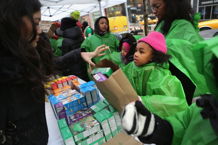 <p>Girl scouts sell cookies in New York City on February 8, 2013.</p>