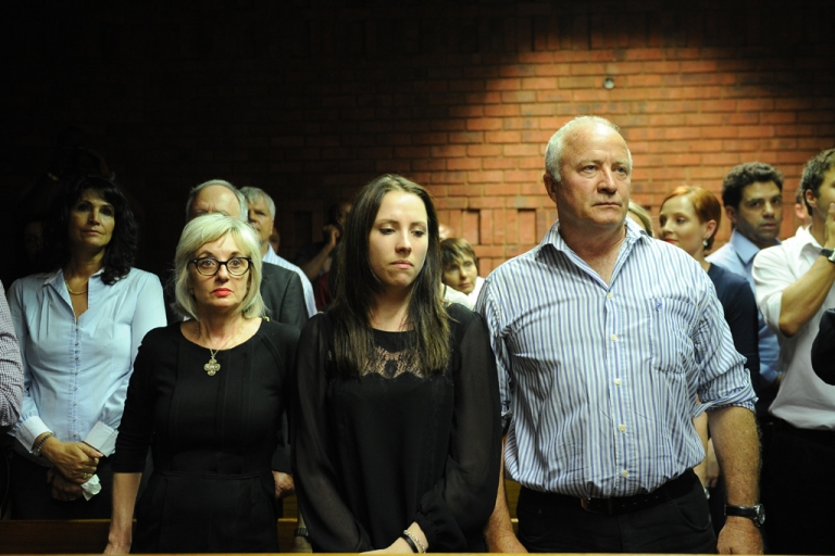 <p>The father of South African Olympic sprinter Oscar Pistorius, Henke (R) and his sister Aimee (C) attend  an audience of Oscar Pistorius' bail hearing  for premeditated murder of his girlfriend at the courthouse in Pretoria on Feb. 22, 2013.</p>