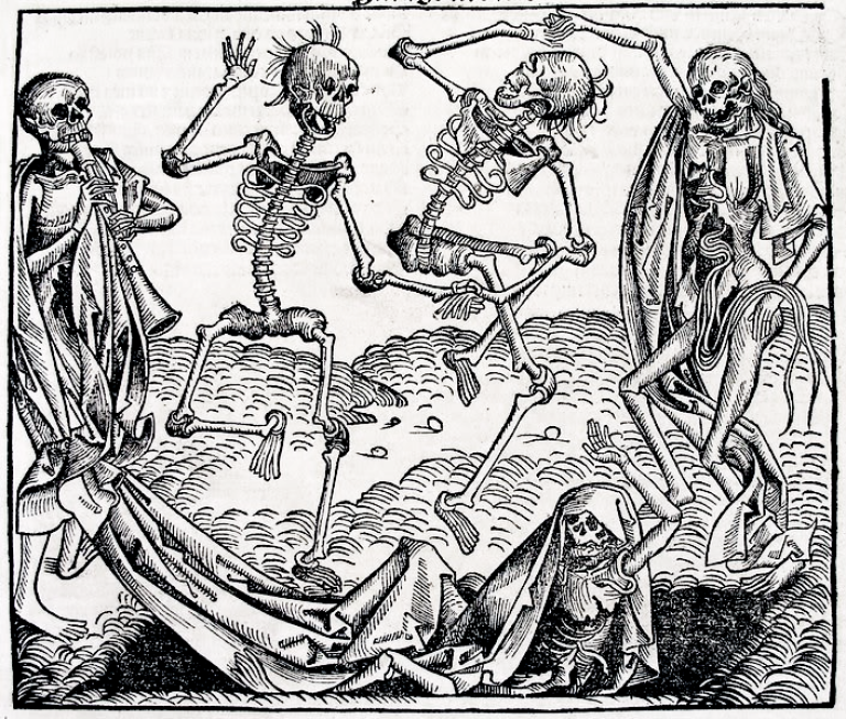<p>This image is the Dance of Death in the German printed edition, folio CCLXI recto from Hartman Schedel's Chronicle of the World (Nuremberg, 1493) thought to be created by Michael Wolgemut (b. 1434, Nürnberg, d. 1519, Nürnberg). There was also a Latin printed edition of the same year. It seems not to be by Hans Holbein the Younger, as often stated. He was not alive at the time of its publication in 1493.</p>