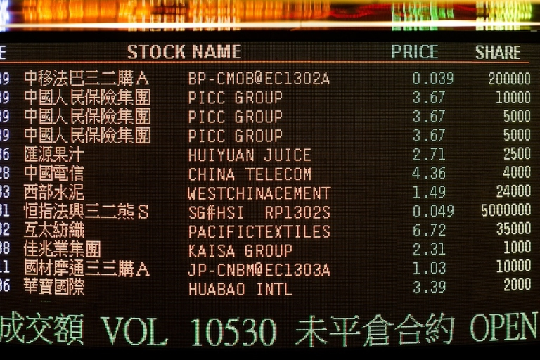 <p>An electronic board of the Hong Kong Stock Exchange displays trading values in Hong Kong on Dec. 7, 2012.</p>