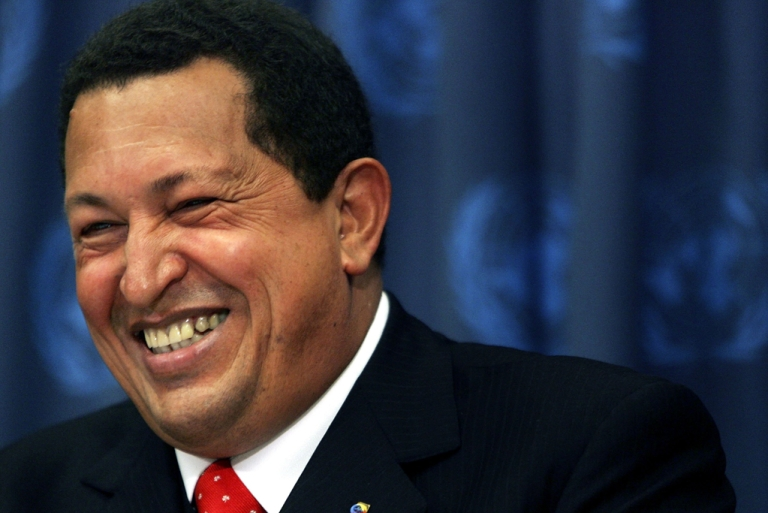 <p>Late Venezuelan President Hugo Chavez laughs during a news conference while attending the United Nations General Assembly, Sept. 20, 2006.</p>