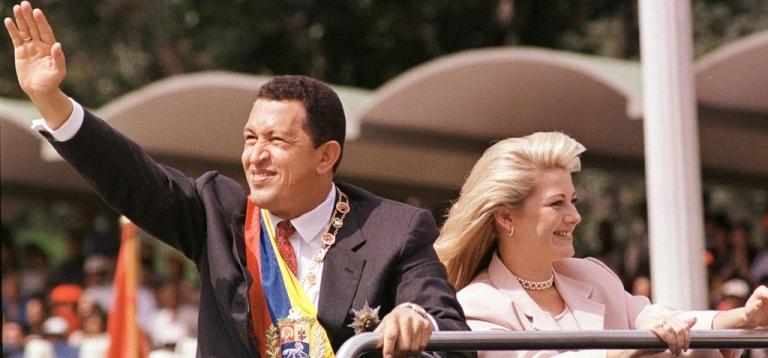 <p>Hugo Chavez with his wife Marisabel Rodriguez de Chavez.</p>