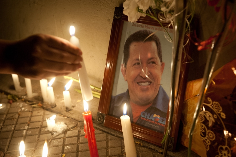 <p>Supporters of Venezuelan President Hugo Chavez light candles in front of the Venezuelan Embassy in Santiago, Chile.</p>