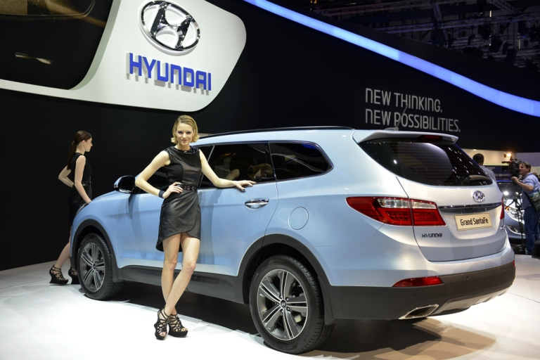 <p>The new Hyundai Gran Santa Fe is displayed in a world premiere at the Korean automaker's booth on March 5, 2013, at the Geneva Motor Show in Geneva, Switzerland. TrueCar Inc., an 8-year-old company based in Santa Monica, Calif., publishes data on actual auto sales allowing shoppers to lock in good prices while preserving dealer profits.</p>