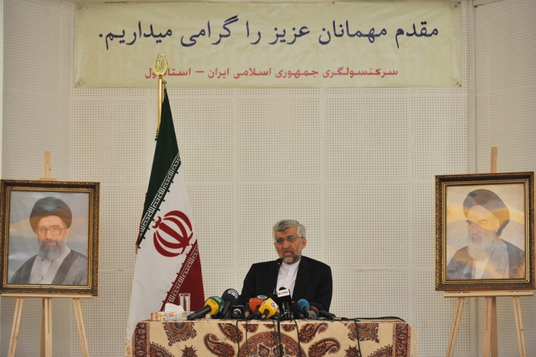 <p>The Secretary of Iran's Supreme National Security Council, Saeed Jalili, speaks during a press conference at the consulate of Iran in Istanbul, Turkey, on Sept. 19, 2012. The P5+1 group made up of China, France, Russia, the United Kingdom, the United States and Germany joined diplomatic efforts to curb Iran's nuclear program in 2006, but efforts to broker a treaty have proven fruitless to date.</p>