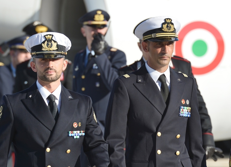 <p>This picture taken on Dec. 22 shows Salvatore Girone, left, and Massimiliano Latorre arriving at Ciampino airport near Rome.</p>