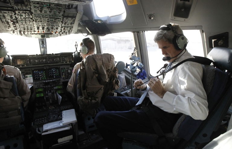 <p>US Secretary of State John Kerry flies out of Iraq on March 24, 2013. Kerry arrived in Afghanistan the following day for talks with President Hamid Karzai.</p>