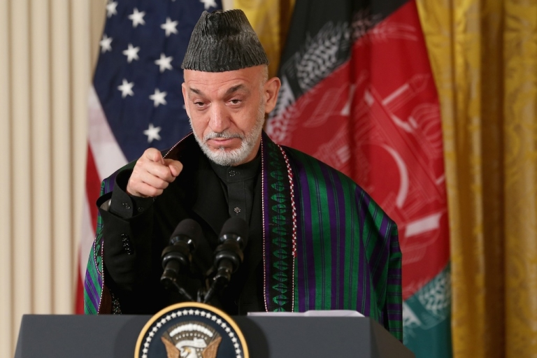 <p>Afghan President Hamid Karzai speaks during a joint news conference with US President Barack Obama on Jan. 11, 2013 in Washington, DC.</p>