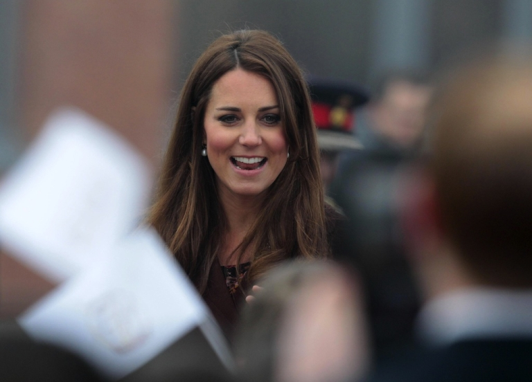 <p>More than 1,000 people turned out to greet the Duchess of Cambridge during her visit to Grimsby in northern England on Tuesday.</p>