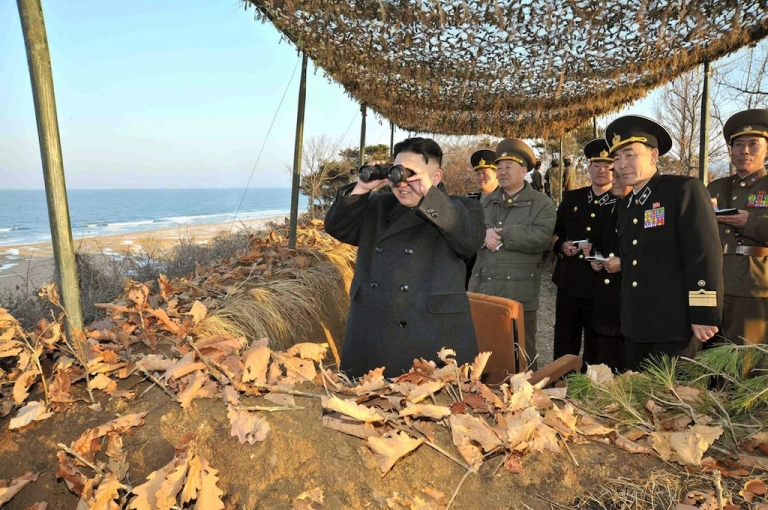 <p>Kim Jong Un inspects the landing and anti-landing drills of KPA Large Combined Units 324 and 287 and KPA Navy Combined Unit 597 at an undisclosed location on North Korea's east coast on March 25, 2013.</p>