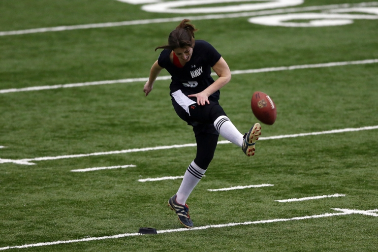 <p>Lauren Silberman attempts a kick during a NFL regional scouting camp on March 3, 2013, at the Atlantic Health Training Center in Floram Park, New Jersey. Silberman is the first female to try out for the NFL.</p>