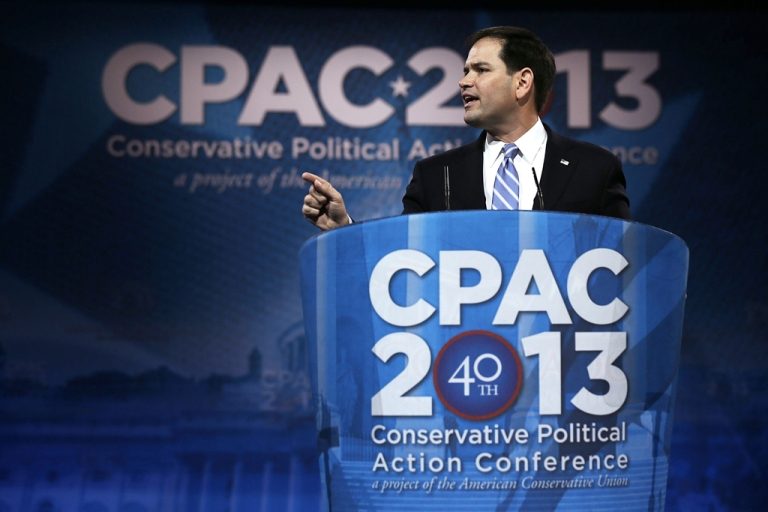 <p>United States Sen. Marco Rubio (R-Fla.) addresses the 40th annual Conservative Political Action Conference (CPAC) on March 14, 2013, in National Harbor, Md. A slate of important conservative leaders are scheduled to speak during the the American Conservative Union's annual conference.</p>
