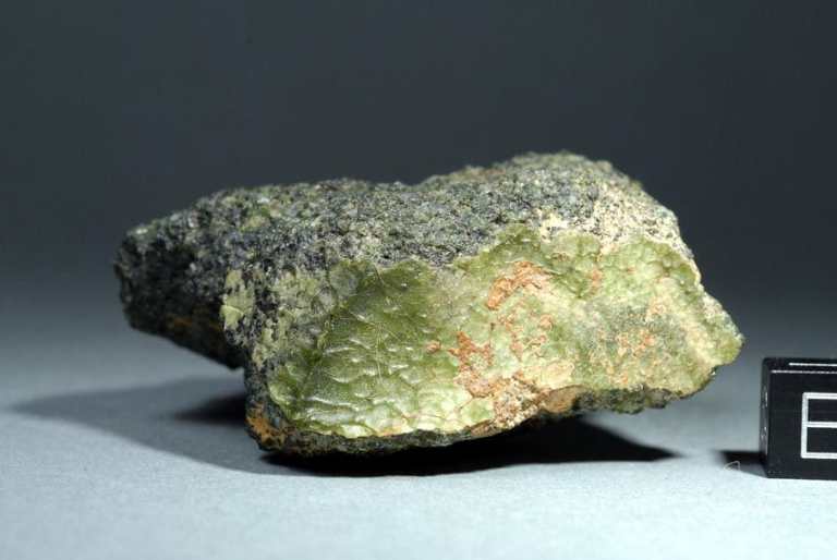 <p>This green meteorite, found in Morocco in 2012, may be from Mercury.</p>