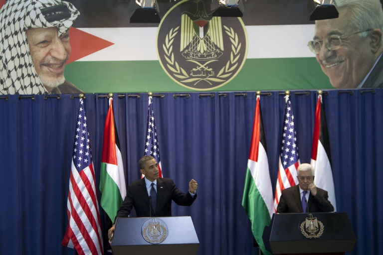 <p>United States President Barack Obama and Palestinian President Mahmoud Abbas (R) give a joint press conference in the West Bank city of Ramallah on March 21, 2013. Obama arrived in the West Bank to a more prickly welcome from Palestinian leaders than the warm embrace he won in Israel the day before.</p>