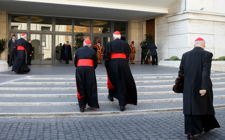 <p>Cardinals arrive at the Paul VI hall for the opening of the Cardinals' Congregations on March 4, 2013 in Vatican City, Vatican. The preliminary meetings will continue until the start of the conclave that will elect a new pope.</p>