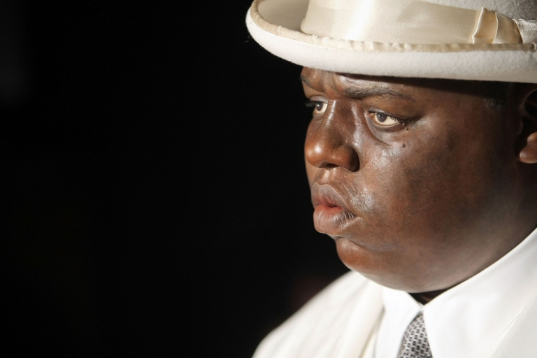 <p>A wax figure of Christopher (Biggie Smalls) Wallace sits on display at its debut at Madame Tussauds in Times Square on October 25, 2007 in New York City.</p>