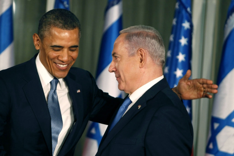 <p>US President Barack Obama (L) greets Israeli Prime Minister Benjamin Netanyahu during a press conference on March 20, 2013 in Jerusalem, Israel. This is Obama's first visit as President to the region, and his itinerary will include meetings with the Palestinian and Israeli leaders as well as a visit to the Church of the Nativity in Bethlehem.</p>