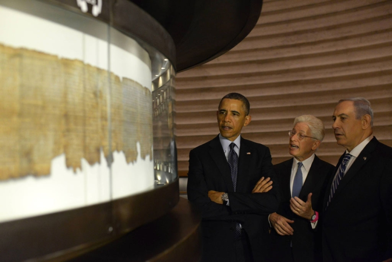 <p>In this handout image supplied by the Government Press Office of Israel (GPO) Israeli Prime Minister Benjamin Netanyahu (R) and U.S. President Barack Obama visit the shrine of the book on March 21, 2013 in Jerusalem, Israel.</p>