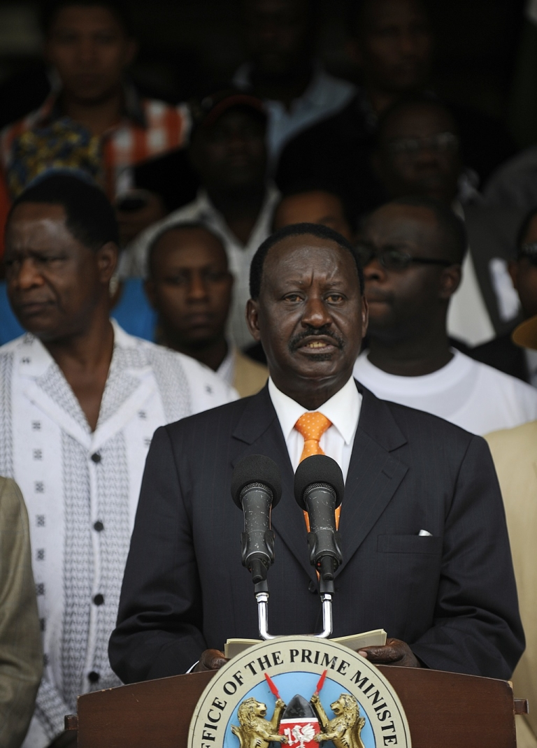 <p>Outgoing Kenya Prime minister Raila Odinga led CORD makes an address outside his offices on March 16, 2013 before he formaly filed a petition at Kenya's supreme court to challenge the outcome of the Kenya's general election.</p>