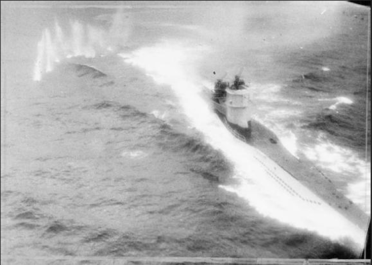 <p>Photograph taken from Consolidated Catalina Mark IVA of No. 210 Squadron RAF during an attack on German Type VIIC submarine U-361. The wreck of another Type VIIC submarine, the U-486, has just been identified off the coast of Norway.</p>