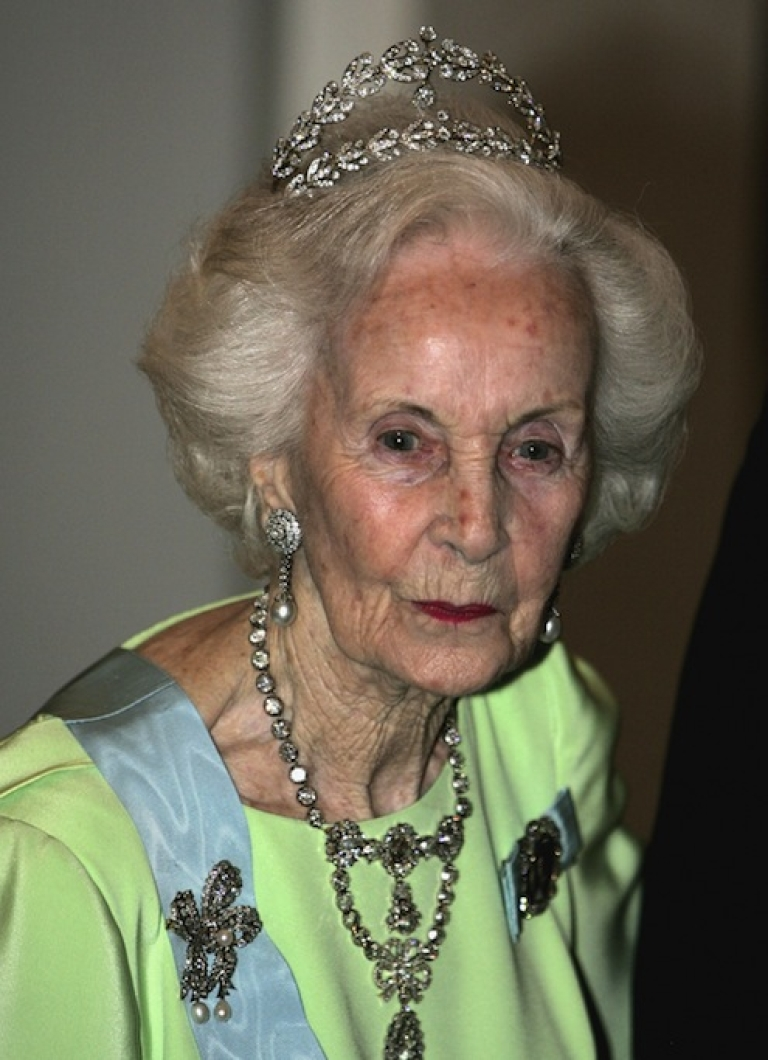 <p>STOCKHOLM, SWEDEN - Princess Lilian of Sweden arrives for the Gala Dinner at Royal Palace to celebrate King Carl Gustaf XVI of Sweden's 60th Birthday on April 30, 2006 in Stockholm, Sweden.  Princess Lilian died Sunday March 10, 2013 at age 97.</p>