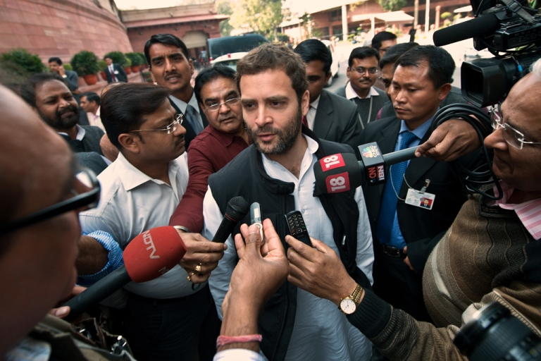 <p>India's Congress Party Vice President and Member of Parliament, Rahul Gandhi, speaks with the media at Parliament in New Delhi on February 21, 2013.</p>