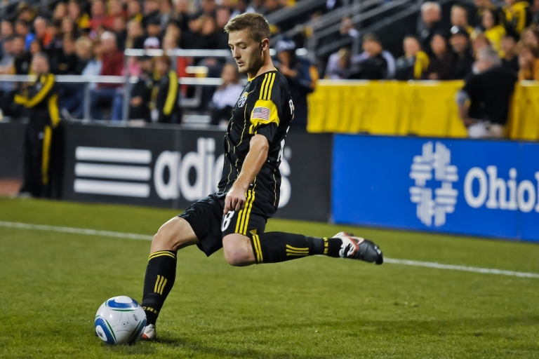 <p>Robbie Rogers controls the ball in Columbus, Ohio on Sept. 24, 2011.</p>