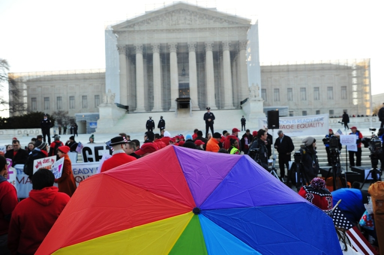 <p>Supporters of same-sex marriage gather in front of the US Supreme Court on March 26, 2013 in Washington, DC.</p>