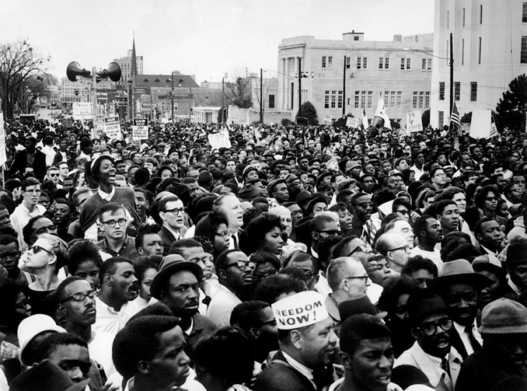 <p>Civil rights demonstrators, led by Dr Martin Luther King (not pictured), arrive in Montgomery from Selma on March 26, 1965 in Alabama, on the third leg of the Selma to Montgomery marches. The Selma-to-Montgomery March for voting rights ended three weeks and represented the political and emotional peak of the modern civil rights movement. The first march took place on March 07, 1965 (